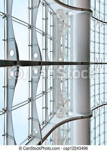Glass Curtain Wall Of A Modern Architecture Building