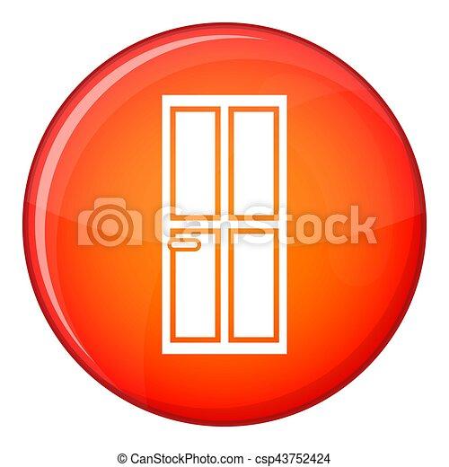 Glass door icon, flat style - csp43752424