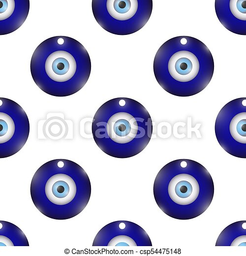 Glass Evil Eye Symbol Seamless Pattern On White Background Turkish