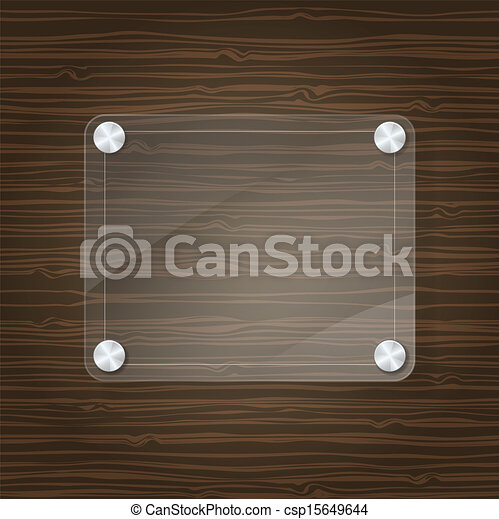 glass frame on wooden background - csp15649644