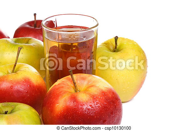 glass full of juice and apples - csp10130100