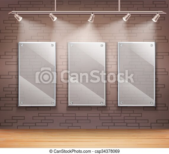 Glass gallery frames. Gallery of 3 transparent glass frames on wall ...