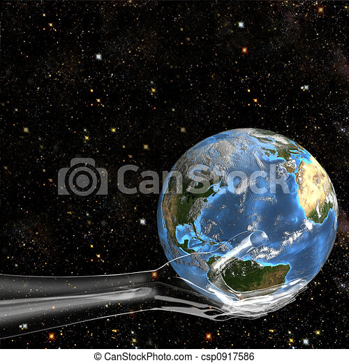 Glass Hand Holds Earth in Space - csp0917586