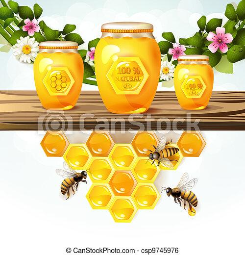 Glass jar and honey - csp9745976
