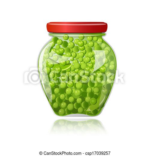 Glass jar of preserved green peas - csp17039257