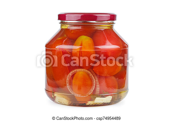 Glass jar with pickled home-made tomatoes - csp74954489