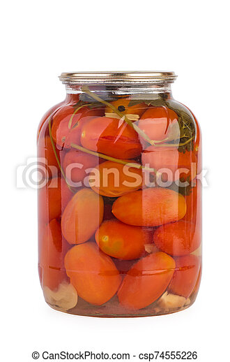 Glass jar with pickled home-made tomatoes - csp74555226