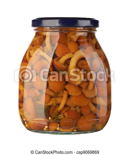 Glass jar with pickled mushrooms - csp9069869