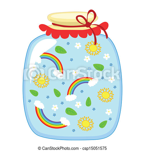 Glass jar with tinned summer - csp15051575