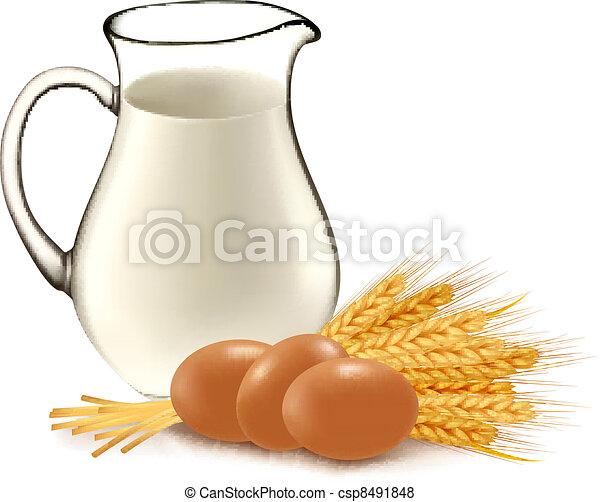 Glass jug with milk, wheat seeds. - csp8491848