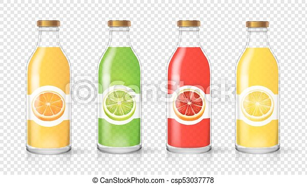 glass juice bottle with citrus label template packaging set vector