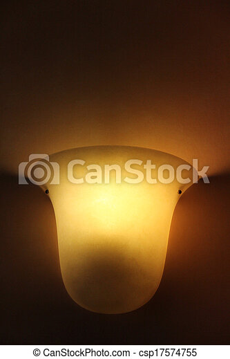 Glass lamp on painted old wall - csp17574755