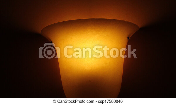 Glass lamp on painted old wall - csp17580846