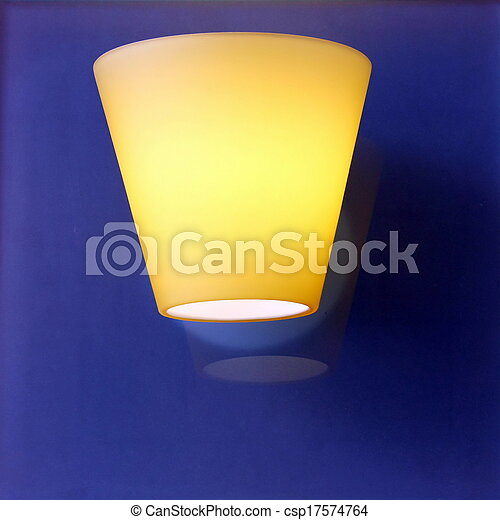 Glass lamp on wooden wall - csp17574764