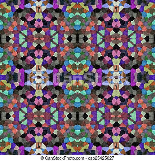 Glass mosaic kaleidoscopic seamless generated hires texture - csp25425027