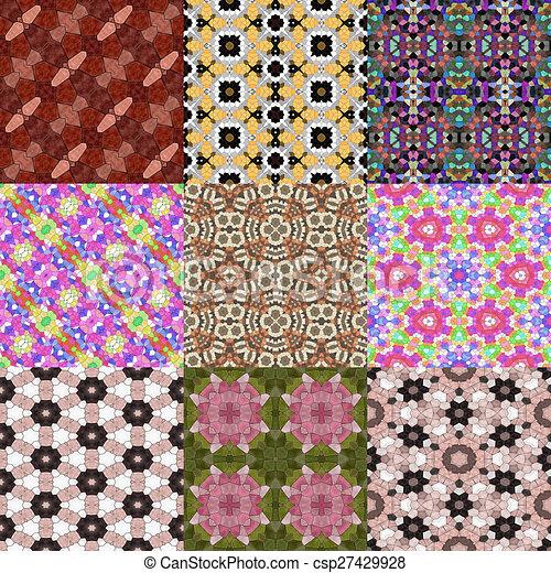 Glass mosaic kaleidoscopic seamless generated hires texture - csp27429928