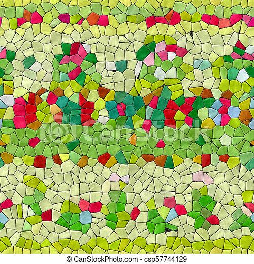 Glass mosaic kaleidoscopic seamless generated hires texture - csp57744129