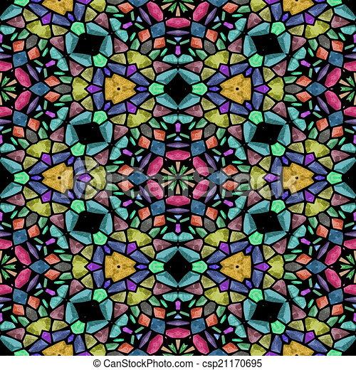 Glass mosaic kaleidoscopic seamless generated hires texture - csp21170695