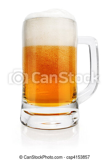 glass of beer drink with bubbles isolated - csp4153857