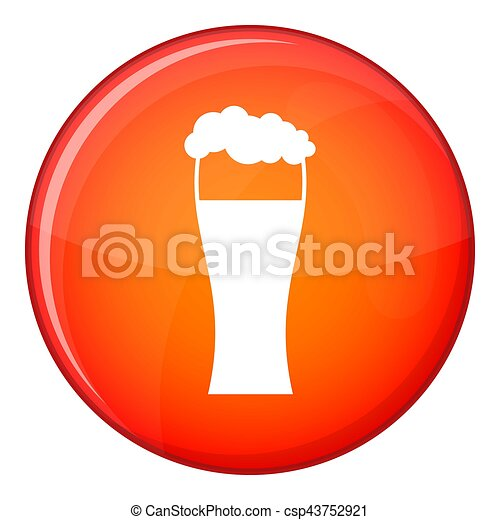 Glass of beer icon, flat style - csp43752921
