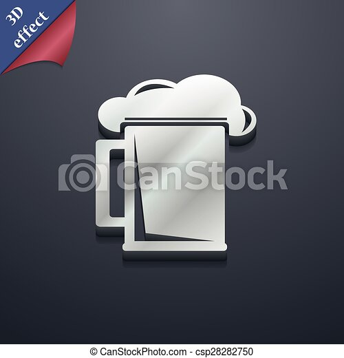 Glass Of Beer Icon Symbol 3d Style Trendy Modern Design With