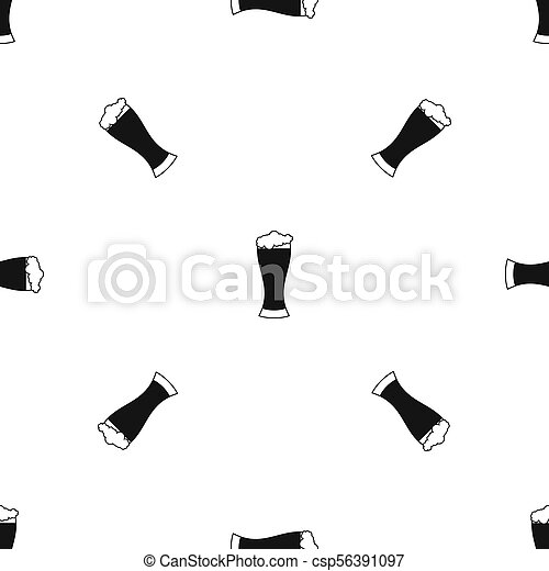 Glass of beer pattern seamless black - csp56391097