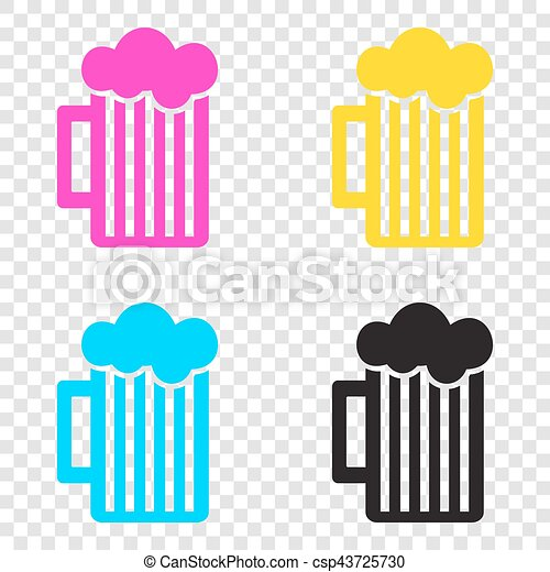 8e68a1c5661c Glass of beer sign. cmyk icons on transparent background. cyan ...