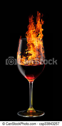 glass of burning red wine - csp33843257