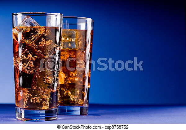 Glass of Cola with Ice - csp8758752
