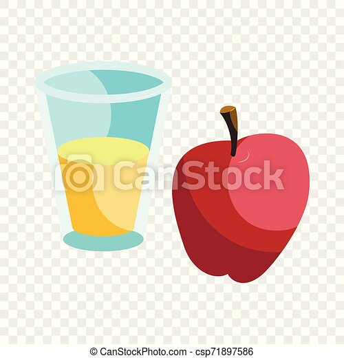 Glass of drink and red apple icon, cartoon style - csp71897586