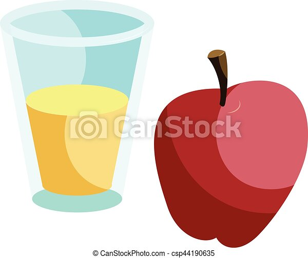 Glass of drink and red apple icon, cartoon style - csp44190635