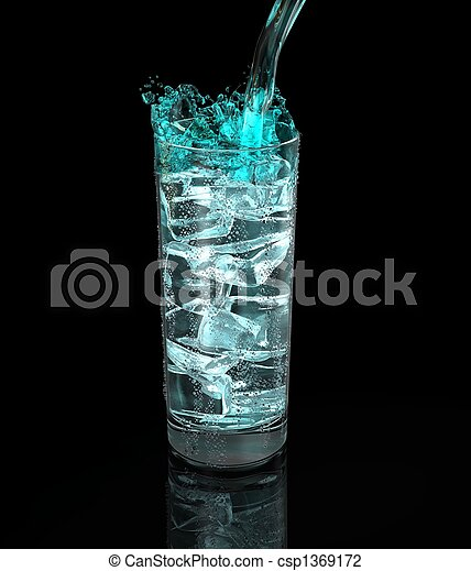 glass of fresh drink on black background - csp1369172