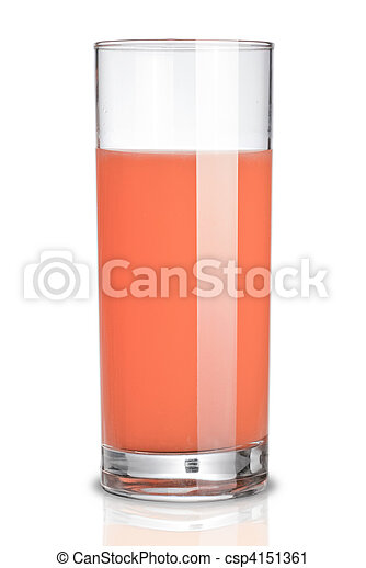 glass of grapefruit juice isolated on white - csp4151361