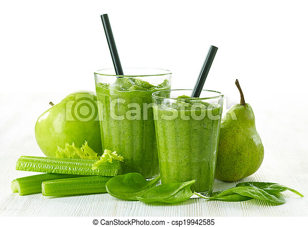 glass of green smoothie - csp19942585