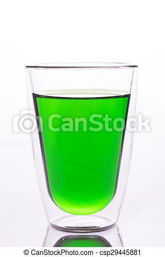 Glass of green water - csp29445881