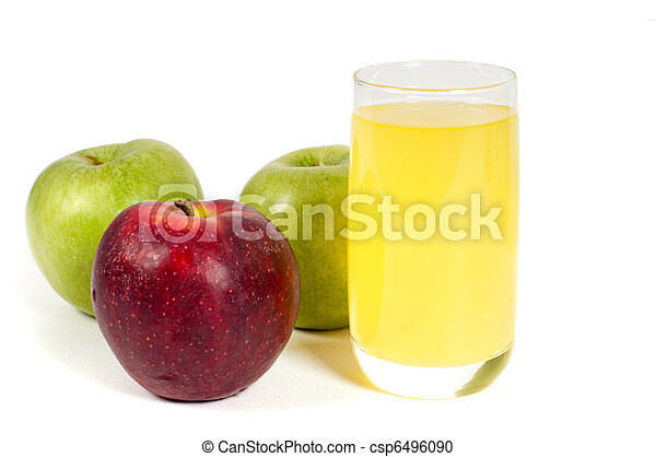 Glass of juice and apples - csp6496090