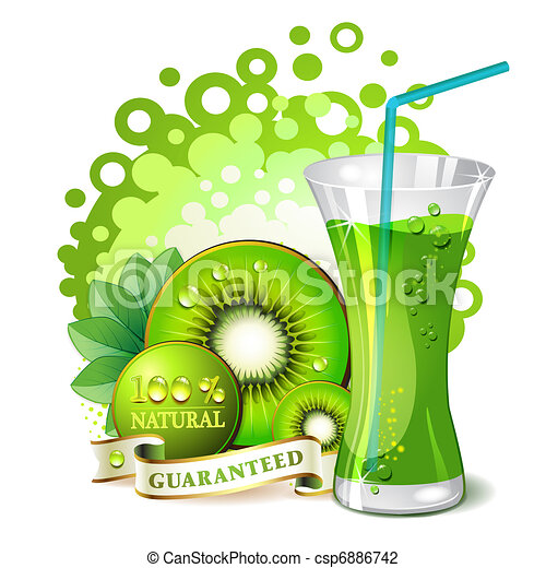 Glass of kiwi juice - csp6886742