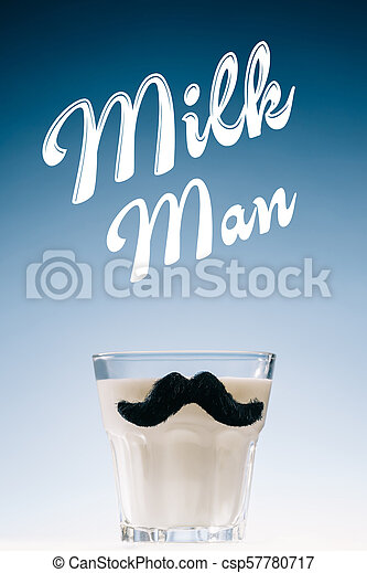 Glass of milk with mustaches and Milk man inscription isolated on blue background - csp57780717