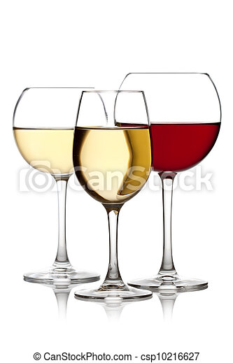 Glass of red and white wine on a white background and with soft shadow. - csp10216627