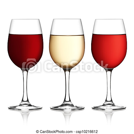 Glass of red, pink and white wine on a white background and with soft shadow. The file includes a clipping path. - csp10216612