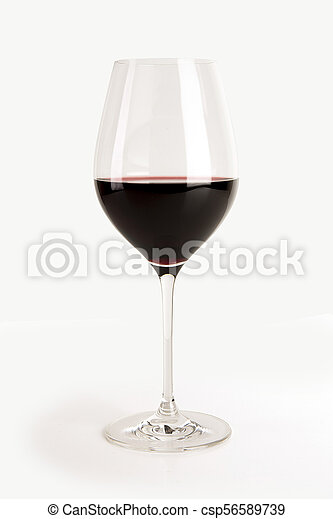 Glass of red wine isolated on white - csp56589739