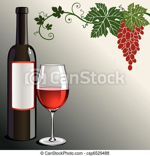 Glass of red wine with bottle  - csp6529488