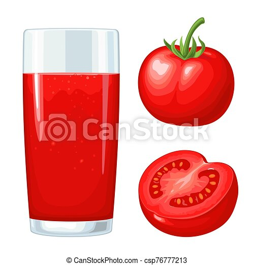 Glass of tomato juice. Vector flat color illustration. Isolated on white - csp76777213