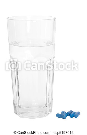 Glass of Water and Blue Pills - csp5197018