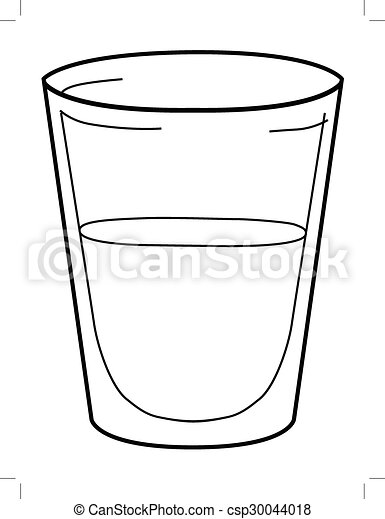 Outline illustration of glass of water