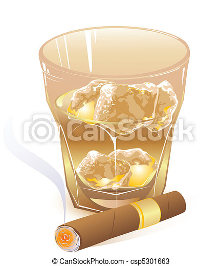 glass of whiskey and  cigar - csp5301663