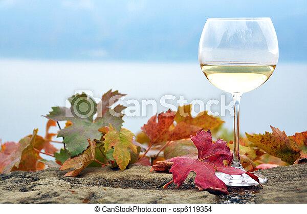 Glass of white *wine and autumn leaves against Geneva lake, Switzerland - csp6119354