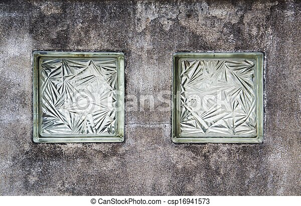 Glass on old wall - csp16941573