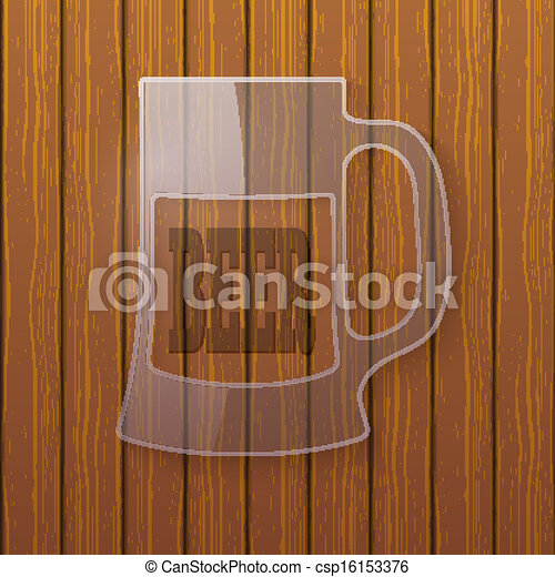 Glass plate in the form of a beer mug on a wooden wall - csp16153376