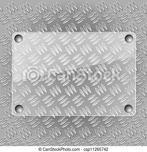 Glass plate on metallic plate - csp11265742